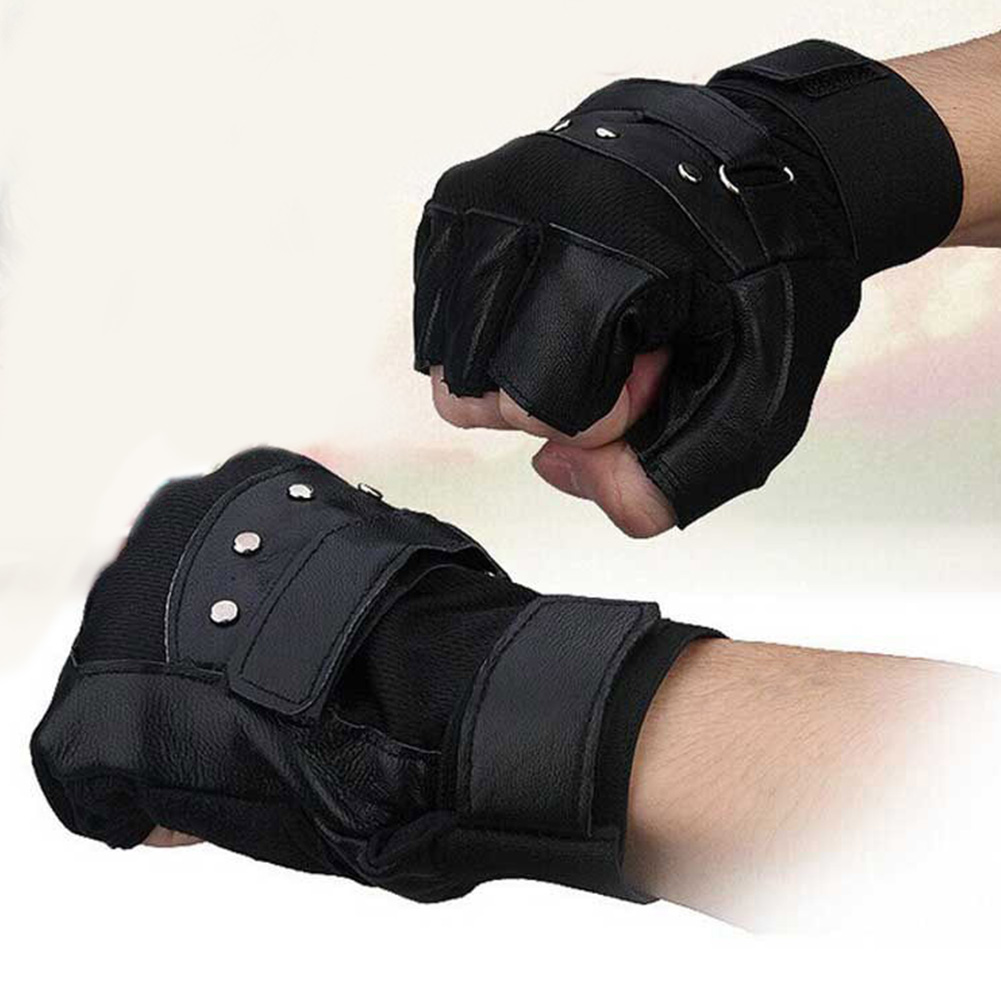 1pair Outdoors Rivet Driving Running Cycling Motorcycle Warm Half Finger Sports PU Leather Men Gloves