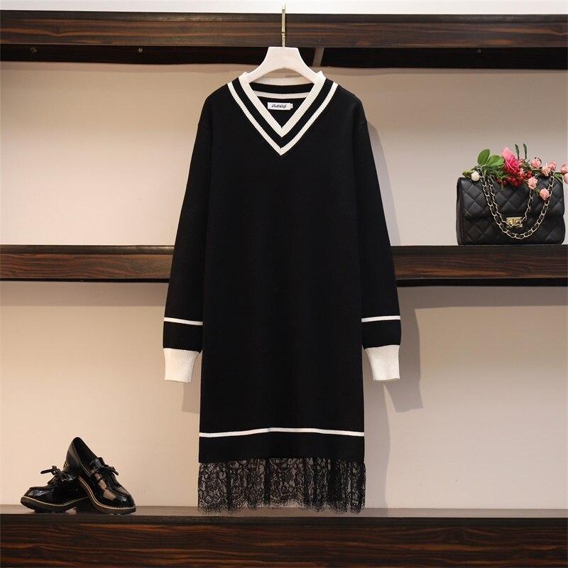 Patchwork Lace Sweater Dresses Women's Long Sleeve V Neck Mini Straight Ladies High Street Autumn Knitting Dresses Plus Size