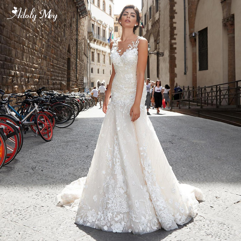 Adoly Mey New Arrival Elegant O-Neck Button Lace Mermaid Wedding Dress 2020 Luxury Appliques Beaded Trumpet Bride Gown Plus Size
