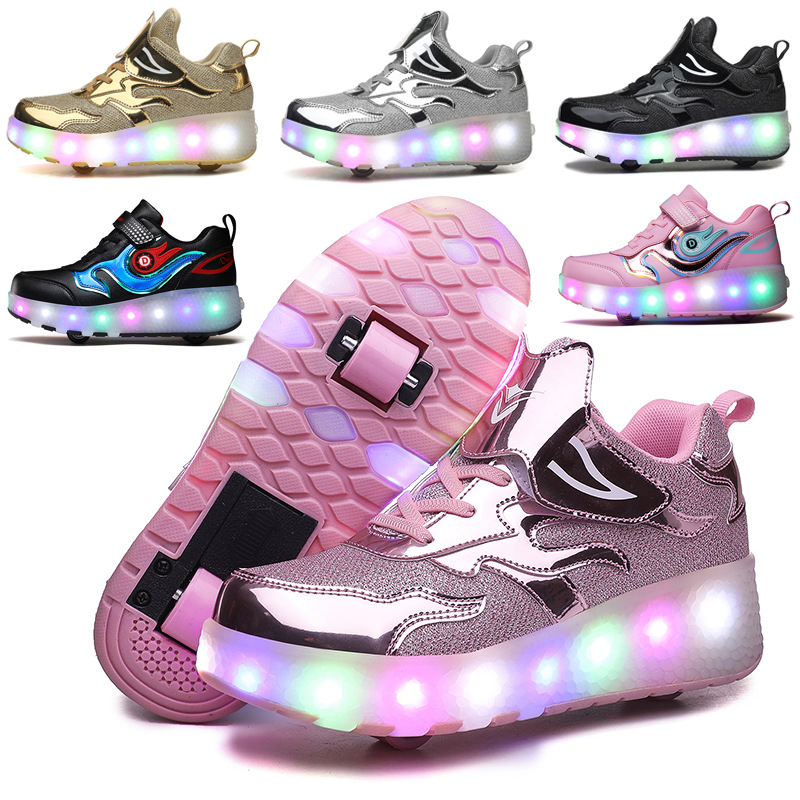 USB Charging Kids Boys Girls Wheeled Shoes Children's Adult Roller Skate Shoes LED Glowing Sneakers with Double / Two Wheels
