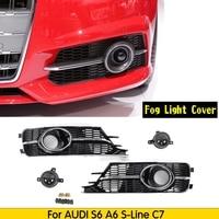 RS6 Front Bumper Lower Fog Light ACC Grille side grill Radar Sensor Decoration Shell Set for AUDI S6 & Sline 2016 2018