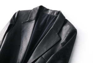 Image 3 - OFTBUY 2020 office ladies blazer feminino elegant blazer women blazers and jackets real sheepskin leather jacket black coat