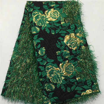 African lace fabric 2020 Green High Quality Fashion Embroidered Organza Lace french Tulle Lace Fabric With Tassel NLY2-1