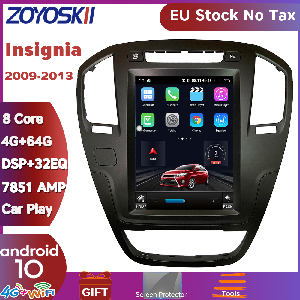 ZOYOSKII Android 9.0 Os 10.4 Inch Car Gps Multimedia Radio Bluetooth Navigation Player For Opel Insignia 2009-2013 Carplay