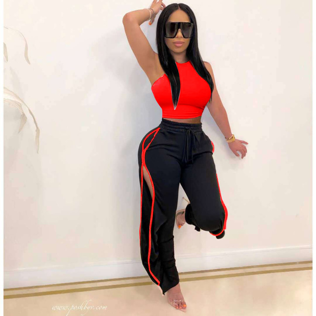 2020 Women 2 Piece Set Sexy Off The Shoulder Tops and Long Trousers Woman Pants Two Pieces Solid Outfits 4