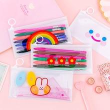 Cute Bunny Transparent Pencil Cases Kawaii Flower Waterproof File Holder Pencil Bag Pen Case Korean Stationery School Supplies