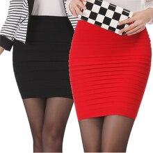Saia feminina cintura alta com frete grátis, saia curta elástica plissada plus size para verão 2020