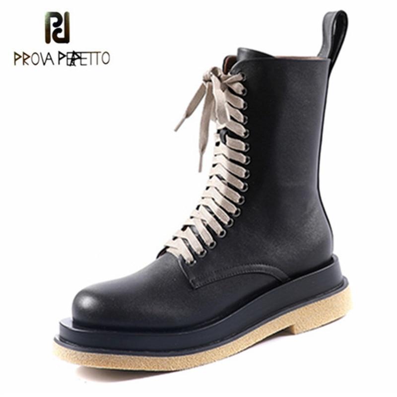 Prova perfetto botas de tornozelo de couro genuíno feminino com zíper-sid dedo do pé redondo botas de fundo grosso 2020 outono festa botas mujer