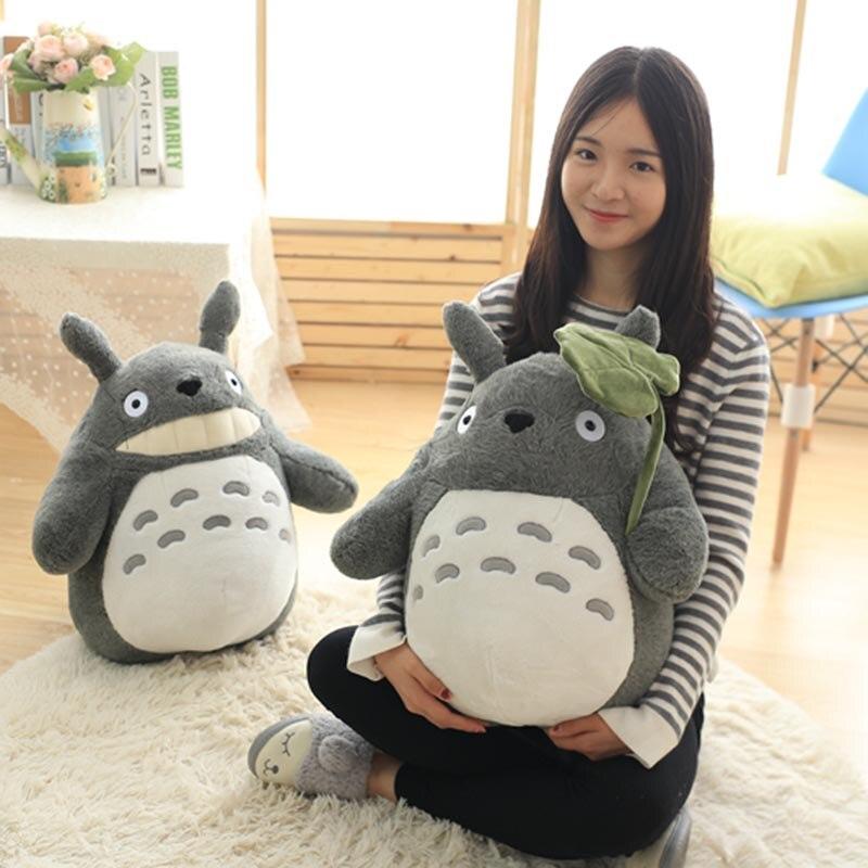 Totoro pluszowe zabawki słodkie pluszowy kot japońskie Anime figurka lalka pluszowe Totoro z liści lotosu dzieci zabawki urodziny prezent na boże narodzenie