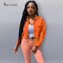 Женская уличная джинсовая укороченная куртка, осенняя Готическая рваная ковбойская куртка-бомбер с длинным рукавом, винтажная оранжевая ч...