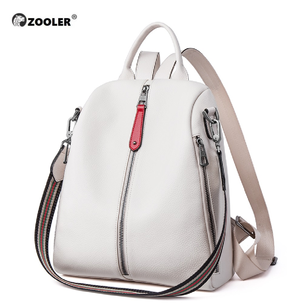 ZOOLER NEW 100% Real Genuine Cowhide Leather Women's Backpacks Designer Female Girl Lady Backpack Cowhide White Book Bag Soft