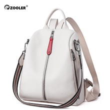 ZOOLER NEW 100% Real Genuine Cowhide Leather Womens Backpacks Designer Female Girl Lady Backpack White Book Bag Soft