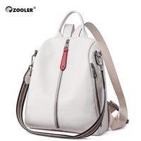 ZOOLER NEW 100% Real Genuine Cowhide Leather Women's Backpacks Designer Female Girl Lady Backpack Cowhide White Book Bag Soft