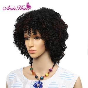 Image 4 - アミール合成ショートウィッグ黒アフロカーリーかつら女性のための自然な黒髪のかつら耐熱前髪かつら