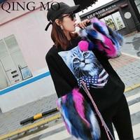 QING MO Cat Printed Women Sweatshirt 2019 Autumn Women Fur sleeve Sweatshirt Black Pullovers Sweatshirt Personality ZQY1484