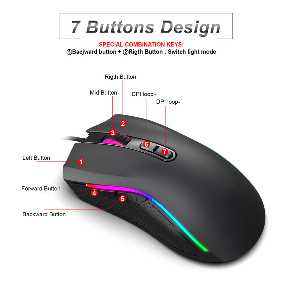 <font><b>7200DPI</b></font> USB Wired Gaming Mouse RGB Optical Ergonomics Gamer Laptop PC Mice image