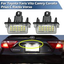 LED License Plate Light For Toyota Yaris Vitz Camry Corolla Prius C Ractis Verso 2pcs for toyota yaris camry corolla prius ractis verso led number license plate car driving rear lights kit car styling page 3 page 1