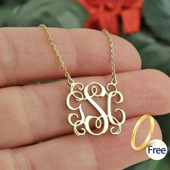 Custom Monogram Necklace Initial Letter Pendant Necklace Stainless Steel Chain Gold-Color Choker for Women Silver Jewelry 2019 statement multilayer letter pendant necklace charm gold necklace bread beads chain necklace jewelry for women