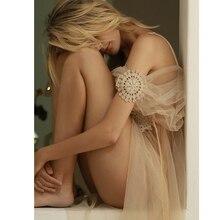 Robe Long-Dress Sleep-Wear See-Through Black Women Mesh Wedding-Use Soft White Sexy Fashion