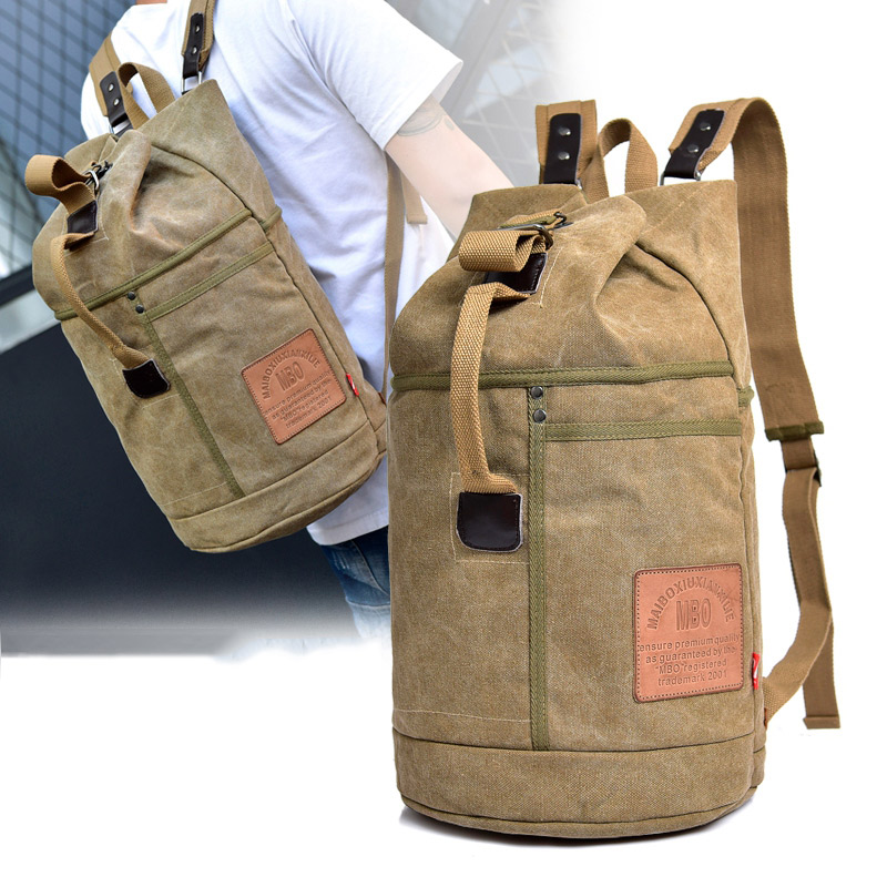 Male Tactical Bucket Canvas Travel Backpack Letter Printing Large Capacity Military Army Bags Outdoor Climbing Rucksack B217