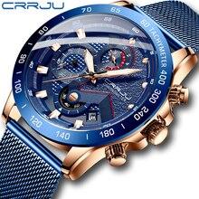 CRRJU موضة ساعات رجالي فاخرة ساعة اليد كوارتز ساعة زرقاء الرجال مقاوم للماء الرياضة كرونوغراف Relogio Masculino