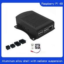 Latest Aluminum case with Heatsink Hanging bracket Compatible + fan for Raspberry Pi 4 Model B