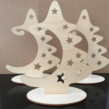 Plastry drewna ze stojakiem naturalny niedokończony boże narodzenie drewniane drzewo gwiazda rzemiosło na ozdoby świąteczne tanie i dobre opinie CN (pochodzenie) Niewykończone drewno wood Wedding Party Christmas