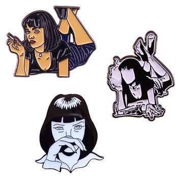 Pulp Fiction Mia Wallace Lapel Pin Uma Thurman 90s cult classic movie badge Punk Girl cool vibes addition image