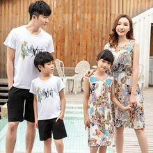 Mother Daughter Dresses Family Matching Outfits Father Son T-Shirt Short Pants Set Cotton Family Clothing 2019 Summer Style family look clothing 2020 summer mother daughter dress family matching outfits father son t shirt short pants clothes set