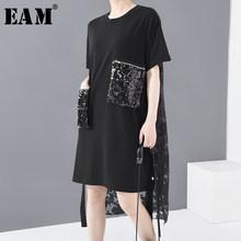 EAM-vestido de lentejuelas negras con lazo trasero para mujer, vestido de talla grande con abertura, cuello redondo, Media manga, corte holgado, moda Primavera Verano 2021, 1U12701