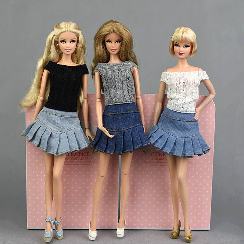 Blue Jeans Casual Wear <font><b>Clothes</b></font> For Barbie Doll Kids Toy A-line Skirt For Barbie Princess Doll <font><b>Clothes</b></font> <font><b>1/6</b></font> Doll Accessories <font><b>BJD</b></font> image
