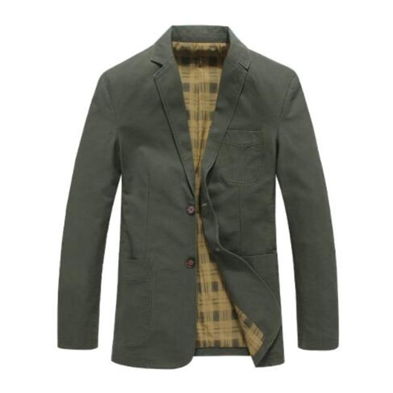 Brand Mens Casual Blazer Fashion Designer Military Style 100% Cotton Male Suit Jacket Men Blazer Masculino Slim Fit 4XL BF5618