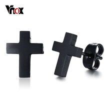 Vnox – boucles d'oreilles croix noire pour homme et femme, bijou classique en acier inoxydable, unisexe, jésus, Christ, religieux