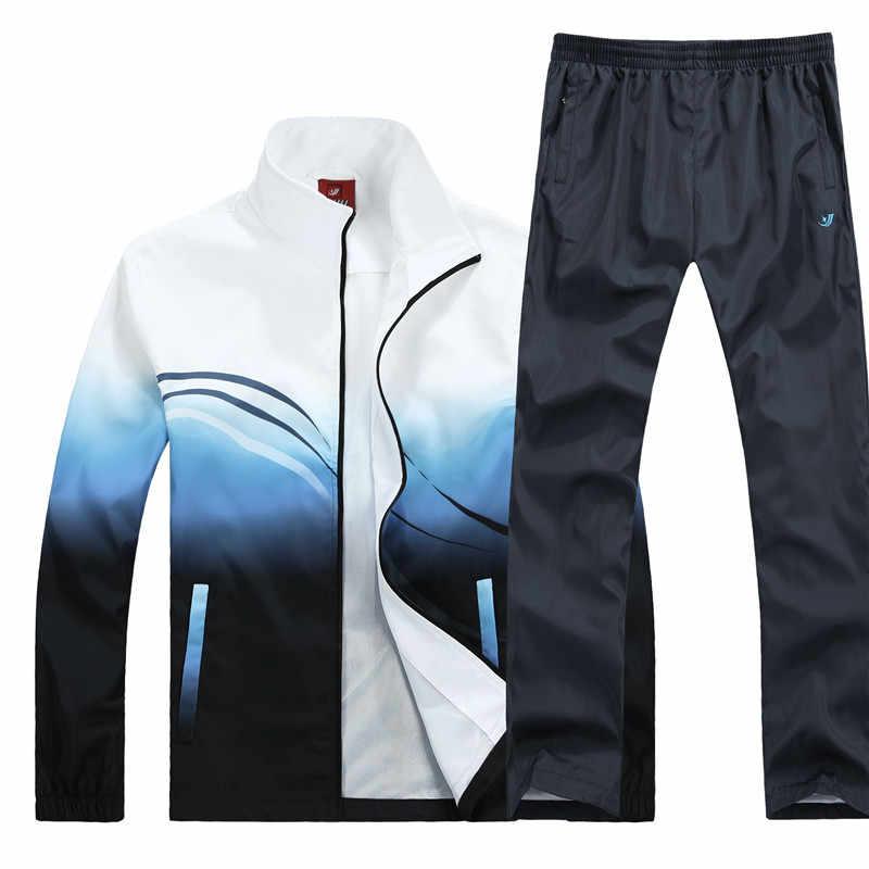 Men's Set Autumn Winter Men Sportswear 2 Piece Sets Running Suit Jacket+Pant Fashion Tracksuit Asian Size M-4XL Military 2019