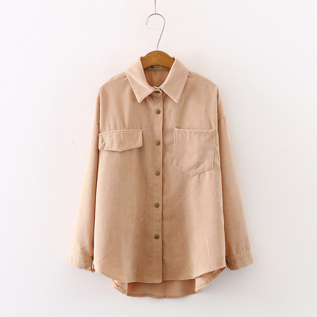 New Women Solid Corduroy Batwing Sleeve Vintage Blouse Turn-Down Collar Loose Top Button Up Pink Shirt Feminina Blusa T9D609T 2