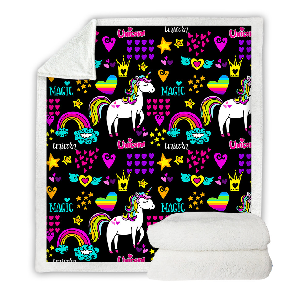 Colorful Unicorn Sherpa Blanket for Kids