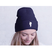 Embroidery Knitted Beanie Winter Hats for Women Men Hip-hop Beanies Unisex Beanie Caps Casual Warmer Bonnet  Ski Cap Female crescent embroidery flanging knitted beanie