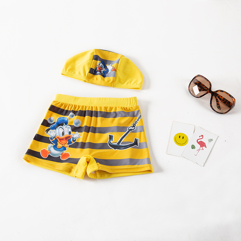 BOY'S Swimming Trunks Yellow Cartoon Tiao Wen Kuan Beach Shorts Children Hot Springs Swimming Trunks