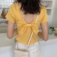 2019 Women Clothes T-shirt Women's Short Sleeve Summer Sexy Backless Round Neck Solid Casual Back Bow Knitted Female T-Shirt casual round neck long sleeve back slit women s t shirt