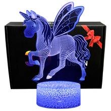 3D ilusión luces de noche unicornio modelo tocar lámparas LED niños dormitorio decoración Arco Iris caballo luces con Control remoto