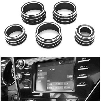 5Pcs Car Air Conditioning + o + Function + Rearview Knob Switch Cover Trim for Toyota Camry 2018 XV70 image