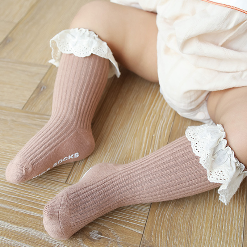 Baby socks New Kids Toddlers Girls  Knee High Long Soft Cotton Lace Baby Children Socks Baby Girl socks 0 to 3 years 5