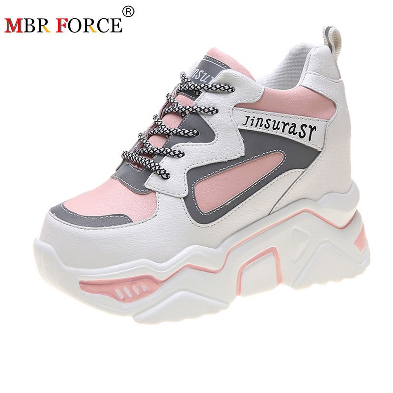 MBR FORCE 2020 Women Spring High Platform Height Increasing Walking Casual Shoes Woman Hidden Wedge Sneakers Women Thick Sole