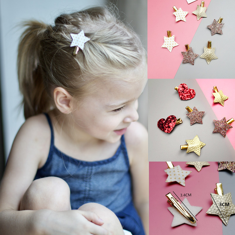 "Sparkling Pair of 3/"" Hair  Bow Hair Clips Baby Girl Boutique Faux Leather White"