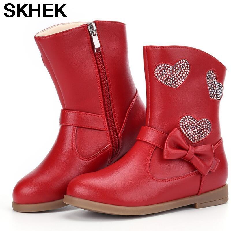 SKHEK-bottes pour filles, chaussures dhiver, à nœuds hauts, pinces, grandes tailles 26 à 37, nouvelle collection