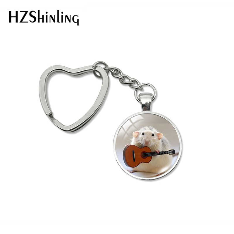 2019 nova moda adorável animal mouse coração chaveiro kawai animal mouse vidro cabochão jóias artesanal chaveiro para presentes femininos