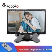 "Podofo 7 ""מסכי LCD HD LCD מיני מחשב & טלוויזיה תצוגת אבטחת CCTV מעקב מסך עם HDMI/VGA/וידאו/אודיו קלט"