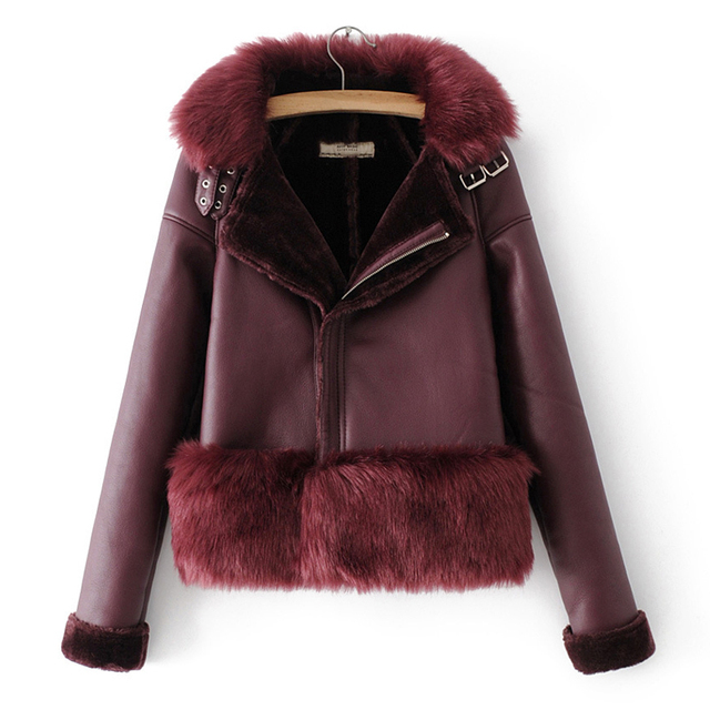 Fitaylor Winter Faux Fur Leather Jacket Women Thick Warm Faux Lambs Wool Fur Collar Leather Jacket Motorcycle Zipper Outerwear