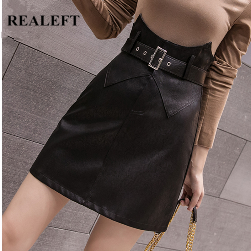 REALEFT Autumn Winter Black Vintage Mini Skirts PU Leather High Waist Wrap Sexy A-Line Short Skirts With Belt 2019 New Arrival