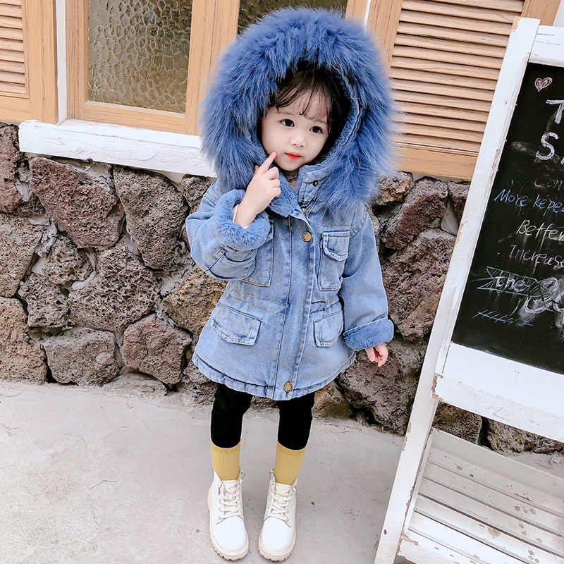 2020 Winter Baby Kid Girl Clothes Child Girl Denim Jacket Plus Velvet Real Fur Warm Toddler Girl Outerwear Jean Coat Thick 1-5 Y